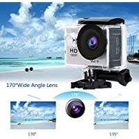 Action Camera W9 Wifi 12mp 170 Degree 1080p 2 inc LCD Digital 30M Waterproof WiFi Remote Control Car Bike Helmet Sports Action Camera Set(Silver)