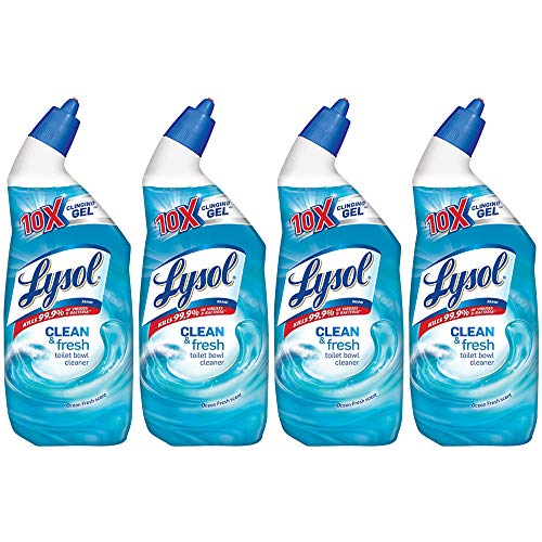 Lysol Clean & Fresh Toilet Bowl Cleaner, Ocean Fresh, 24 oz (Pack of 4)