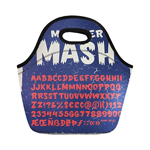 Semtomn Lunch Tote Bag Vintage Typeface Monster Mash Retro Styled Halloween Cute Reusable Neoprene Insulated Thermal Outdoor Picnic Lunchbox for Men Women ()
