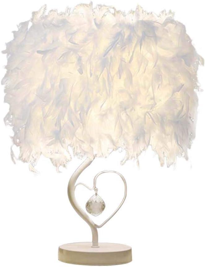Ruitx Blanca de Mesa de Plumas Lámpara con Forma de Corazón, Lámpara de Cristal de Mesa de Plumas Lámparade, Comedor del Dormitorio de Plumas de Cristal lámpara