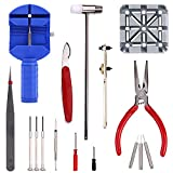 Rukoy 16 -in-1 Professional Watch Band Repair Tools Resizing Kits Case Opener Spring Bar Tool Set