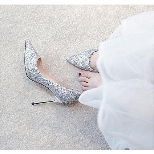 Hohen Schuhe Präsident Herbst Neue Silver Schuhe Mit Absätzen Und Crystal HXVU56546 Der Jahreszeiten Fine Frühjahr Einzelne 4OTFq