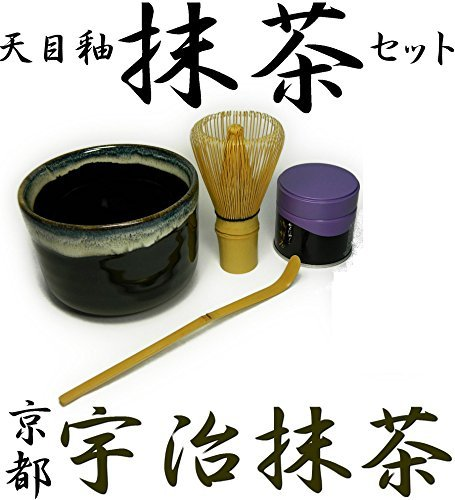 Japan Ware (Matcha bowl [Made in Japan Mino ware] green tea 4-point set Kyoto Harumatsu Uebayashi head office made of green tea with tea utensils that tea bowl comes also with)