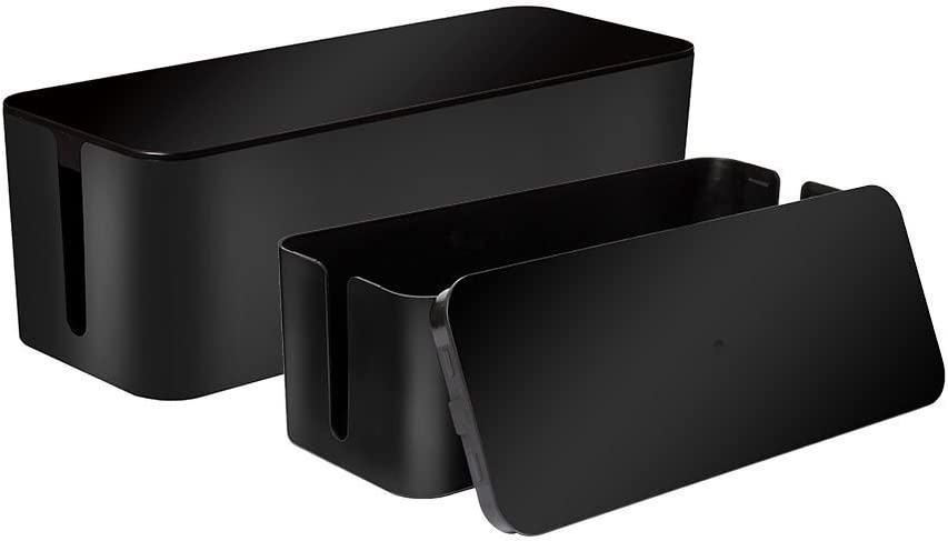 [Set of Two] Cable Management Box Cord Organizer, Large Storage Holder for Desk, TV, Computer, USB Hub, System to Cover and Hide Power Strips & Cords - 16 x 6.2 x 5.4 and 13 x 5.3 x 5 inches