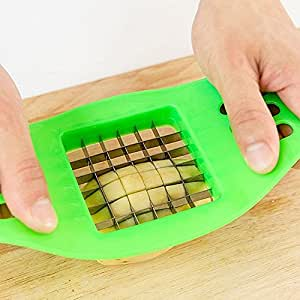 French Fry Cutter Potato Chip Fruit Vegetable Slicer Chopper Stainless Steel Cutting Device (green)