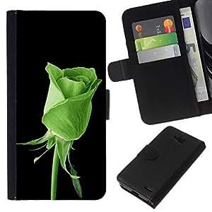 All Phone Most Case / Oferta Especial Cáscara Funda de cuero Monedero Cubierta de proteccion Caso / Wallet Case for LG OPTIMUS L90 // GREEN ROSE NATURE