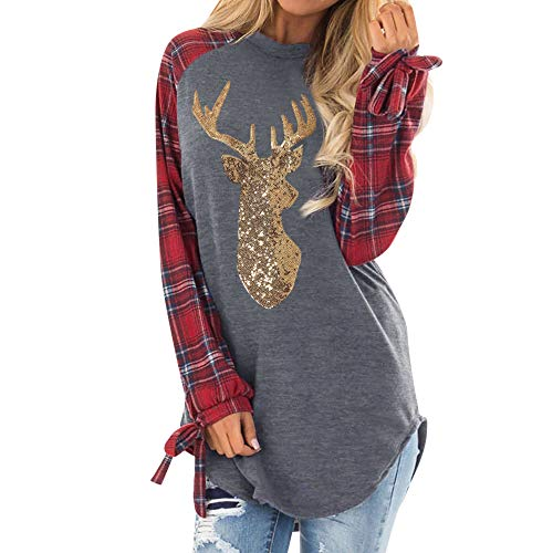 BODOAO Womens Long Sleeve Tunic Tops Pullovers Sweatshirt Christmas Reindeer Blouses T-Shirt Red