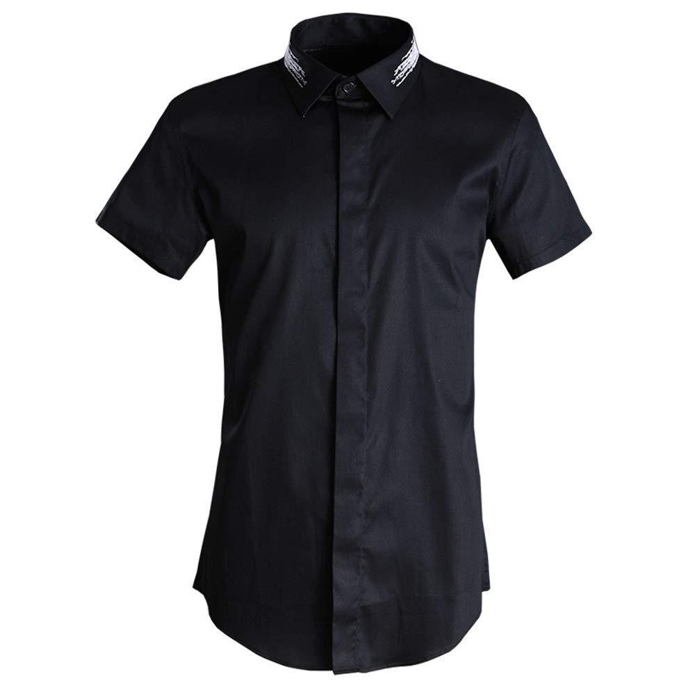 Noir grand SUPRIEE Chemise décontractée pour Hommes Chemises habillées à Manches Courtes à Coupe ajustée pour Hommes Chemise d'été en Coton à Manches Courtes Chemise à Manches Courtes e