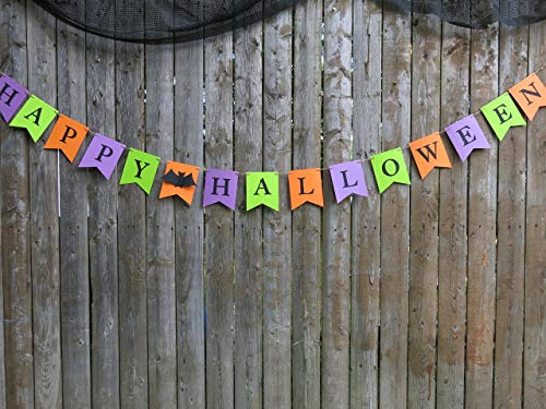 Multi-color Happy Halloween Treat Table Backdrop, Pennant Banner, Bats, Giant Paper Flowers, Eyeball Roses ()