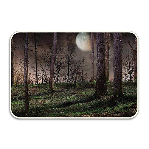 Dark Night in The Forest with Full Moon Horror Theme Grunge Style Halloween Photo Door Mat Indoor Outdoor Kitchen Dining Hallway Bathroom Pet Cat Dog Feeding Mat Pad Entry -