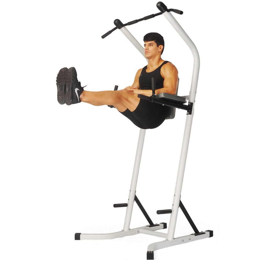 XPH Pull Up Dip Station Power Tower Workout Tower Fitness Station Body Tower Sports Equipment Pull Up Bar Standing Tower Home Fitness Workout Station (white) by XPH (Image #2)