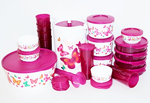 Tupperware Butterfly Complete Collection 20 Piece Set Includes One Gallon Pitcher, Large Canister, 6 Tumbler Cups, Serving Tongs and 3 Bowl Sets