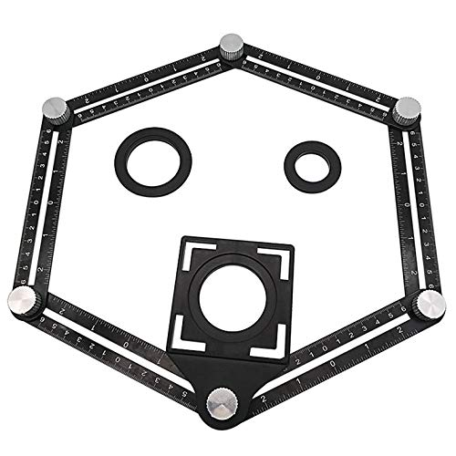 ouying1418 Aluminum Alloy Six-Fold Ruler Tile Opening Locator Mud Tile Shop Paste Floor