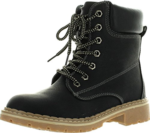 Forever Broadway-3 Combat Boots, Black Pu, 8.5