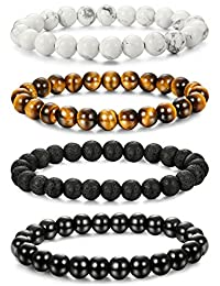 LOLIAS 4-6 Pcs Mens Womens Crystal Bracelet Jewelry Natural Stone Yoga Healing Bracelet Beads Adjustable 8MM