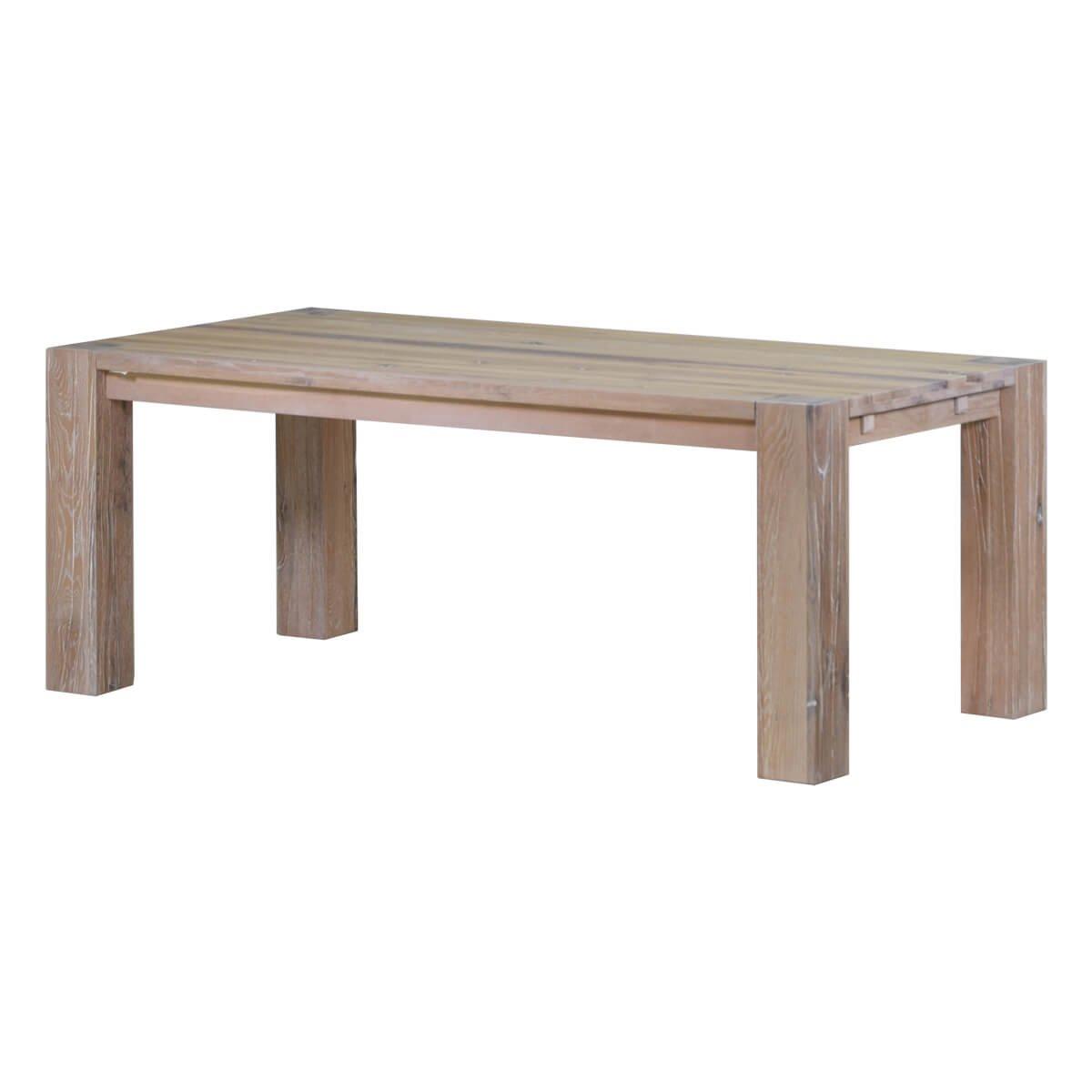 Esstisch Küchentisch Esszimmertisch Braxton, 180x100 cm, Massivholz Holz Eiche massiv weiß gekälkt