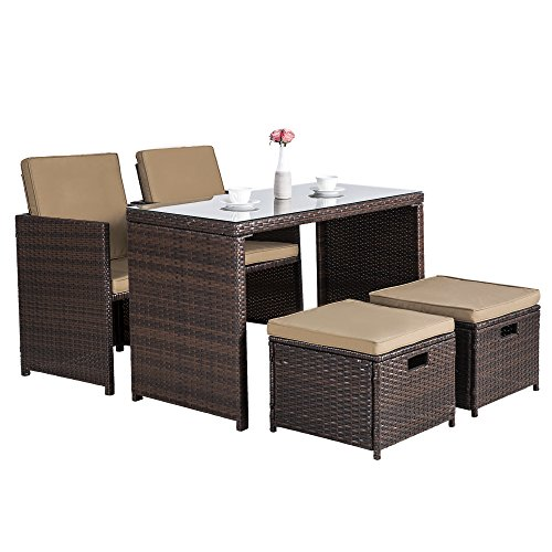 Cloud Mountain Outdoor 5 Piece Rattan Wicker Bar Set Garden Dining Table Set Cushioned Patio Furniture Set Space Saving 1 Patio Dining Table 4 Conversation Bistro Chair Set, Mix Brown (Bar Benches)