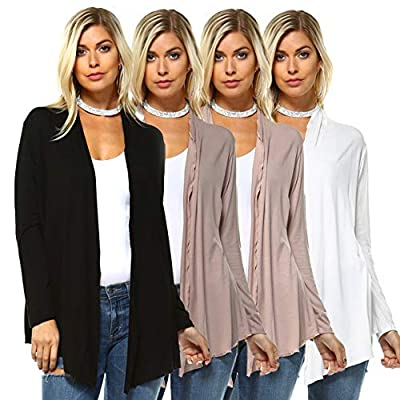 Isaac Liev 4-Pack Women's Open Front Lightweight Casual Flyaway Cardigan - Made in The USA at Women's Clothing store