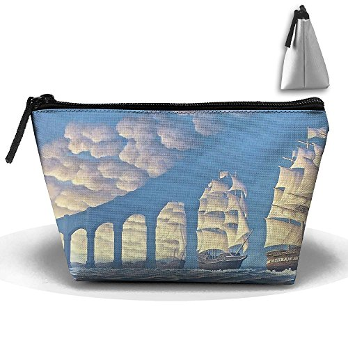 Storage Portable Bag Cosmetic Pouch Optical Illusion Painting Large Capacity Make Up Purse Medicine Trapezoid Toiletry - Houston Stores Optical