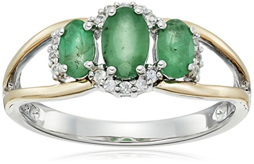sg-sterling-silver-and-14k-yellow-gold-three-stone-emerald-and-white-sapphire-accent-ring-size-7