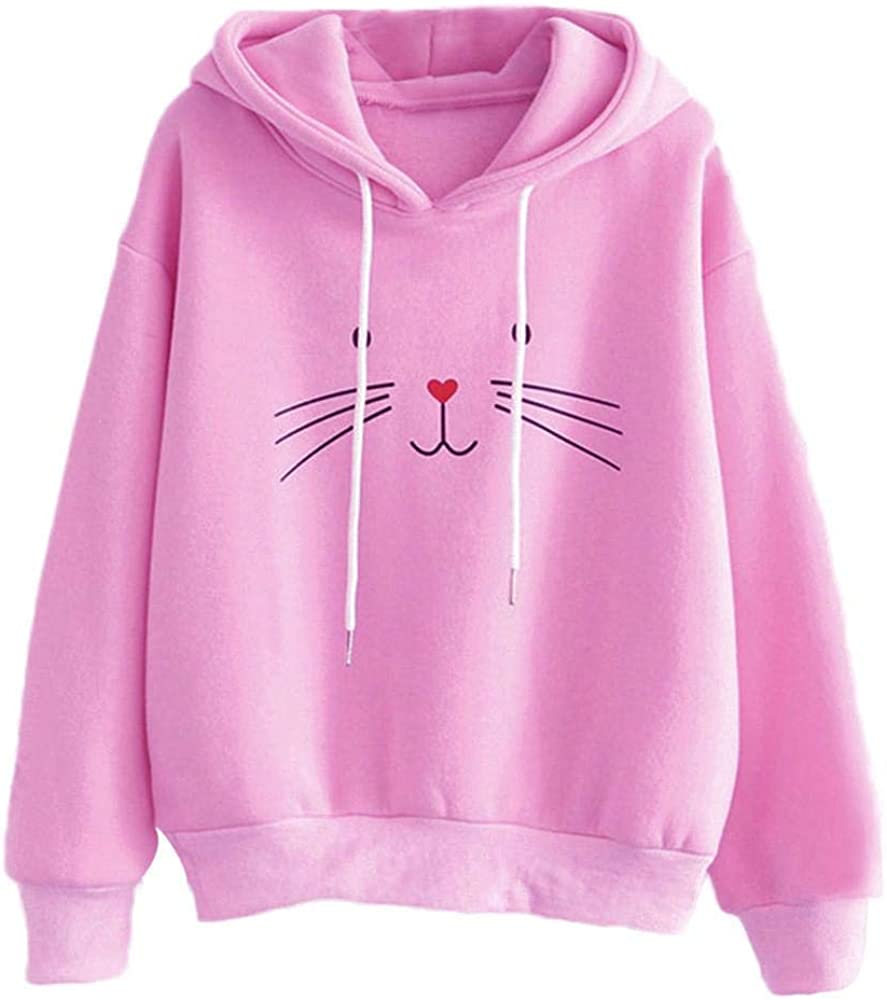 HGWXX7 Women's Casual Cat Print Long Sleeve Hooded Pullover Blouse Tops T-Shirt Sweatshirt