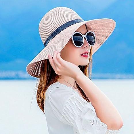 f59f50b4db4be LOF-fei Mujer Verano Sombrero para el Sol Playa Paja Plegable