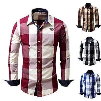 Aurorax Mens Button Down Classic Casual Long Sleeve Cotton Dress Shirt Regular Fit Top