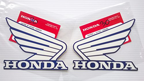 Honda Wings Fuel Tank Gas Tank Stickers Decals 2 X 100mm White / Candy Tahitian Blue Left & Right Brand New 100% Genuine
