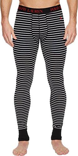 Polo Ralph Lauren Men's Knit Long John Pants Polo Black White Stripe/Red Pony Player Medium