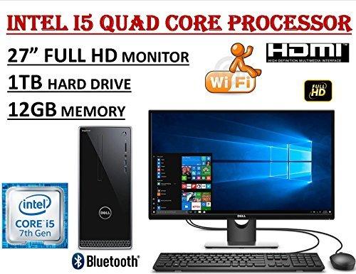 "Dell Inspiron 3668 27"" Full HD i3668 Desktop Bundle ~ 7th Gen. Intel Core i5-7400 Quad Core 3.0GHz ~ 12GB DDR4 ~ 1TB 7200RPM HDD ~ DVDRW ~ WiFi+BT ~ 1080P Dell 27.0"" Monitor ~ Windows 10"