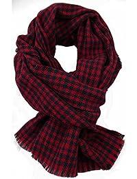 Scarf, tartan, checked, blue, red, 100% wool (Merino)