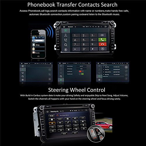 Car Stereo Touch Screen Bluetooth GPS DVD Double Din In Dash Sat Navigation Vehicle Head Unit for VW Volkswagen Jetta Golf Passat Tiguan T5 VW Skoda Seat Hands Free Call Free Map Backup Camera by Saiyeeka (Image #4)'