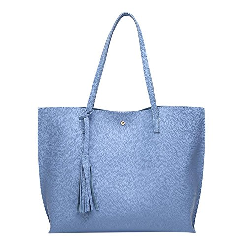 Big Blue Women Sling Capacity Shopping Totes Pure Leather Handbag Simple Widewing Tassel w6RP8W
