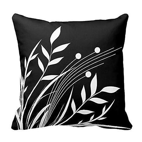 Custom decorativa fundas de cojín blanco y negro hojas ...