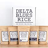 Delta Blues Rice Combo Pack – Five 1-pound bags of White, Brown, Jasmine Rice and Grits with Gift Box