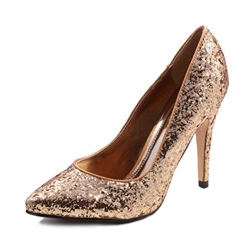 Jumex Damen Glitzer Disco Party Schuhe Pumps High Heels Gold