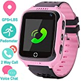 AMENON Kids Smart Watch Phone for Girls Boys with GPS Locator Pedometer Fitness Tracker Touch Camera Games Light Touch Anti Lost Alarm Clock Smart Watch Bracelet(pink)