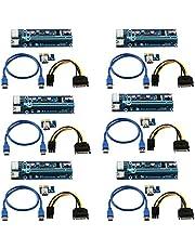 LONGXI (6 Pack) 6-pins aangedreven PCI-E PCI Express Riser - VER 006C - 1X naar 16X PCIE USB 3.0 Adapterkaart - Met USB Verlengkabel - GPU Grafische Kaart Crypto Currency Mining