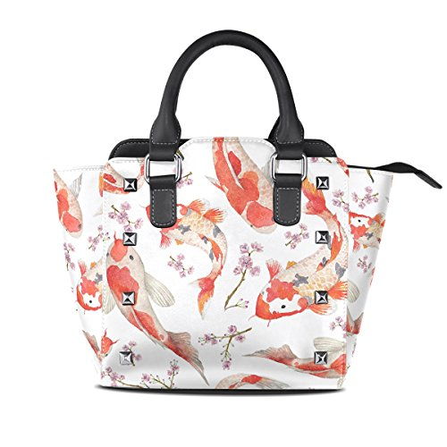TIZORAX Carps Handbags Rainbow Leather PU Women's Top Shoulder Handle Bags xHx1Wn