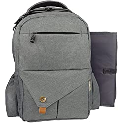 Diaper Bag Backpack for Girls & Boys | Large Diaper Bag with Stroller Straps, Changing Pad & Insulated Pockets | Travel Diaper Backpack for Moms & Dads | Multi-Function, Stylish & Durable (Grey)
