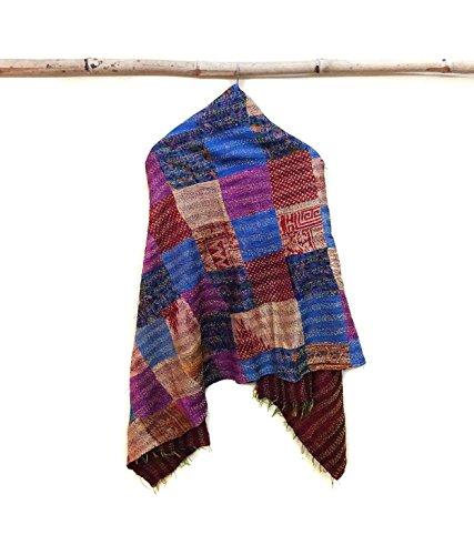 Silk Kantha Scarf patchwork Neck Wrap Stole Dupatta Hand Quilted Women Bandanas