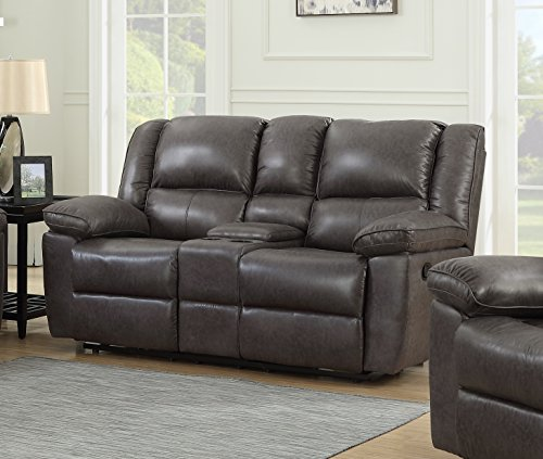 Container Furniture Direct Oregon Recliner Console Loveseat, Hot stamping Cloth Fabric (Dark Brown)