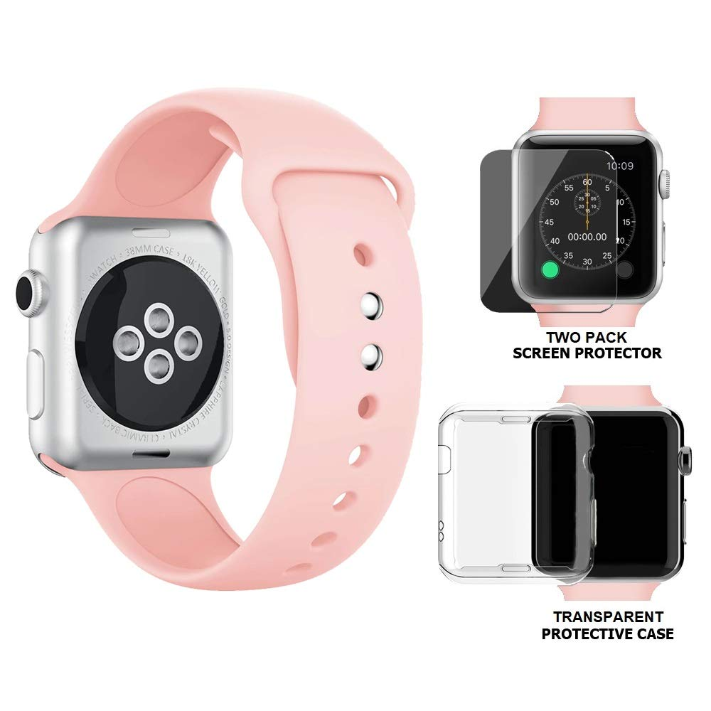 buy popular b76c1 5f580 Palestrapro iPhone Watch Band 38mm Compatible with Apple Watch Series 3 and  Series 2   Silicone Pink Sport Strap with 2-Pack Tempered Glass Screen ...