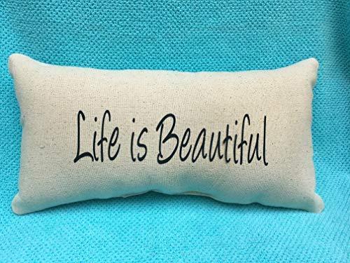 alerie Sassoon Life is Beautiful, Positive, Words, Christian, Lumbar 16x24 Pillowcase Pillow Cover, Black Canvas Beige, Inspiration, Home Decor