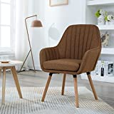 LSSBOUGHT Contemporary Fabric Accent Chair with Solid Wood Frame Legs (Brown)