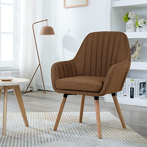 LSSBOUGHT Contemporary Fabric Accent Chair with Solid Wood Frame Legs (Fabric Accent)