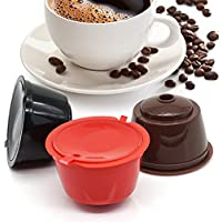 BRBHOM 3 Pack Refillable Coffee Capsules Reusable Coffee Pods Filters Compatible for Dolce Gusto Brewers (Mix Color/3)