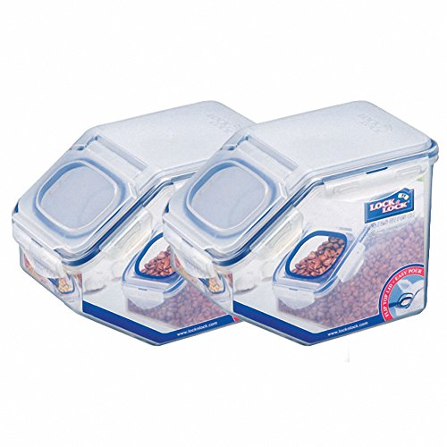 Lock&Lock Dry Food Grain Storage Bin 2.5L Food Container Set with Flip-top Lid, Pack of 2