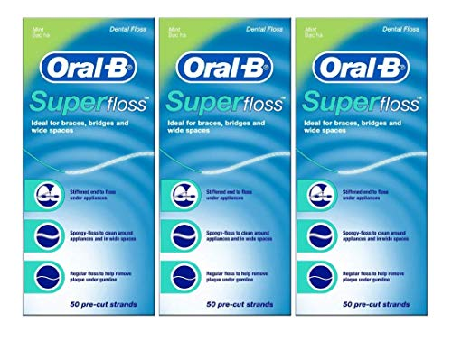 Oral-B Super Floss, 50 Pre-Cut Strands, Mint - Pack of 3