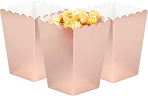ZOOYOO Rose Gold Mini Paper Popcorn Boxes for Party,Pack of 12